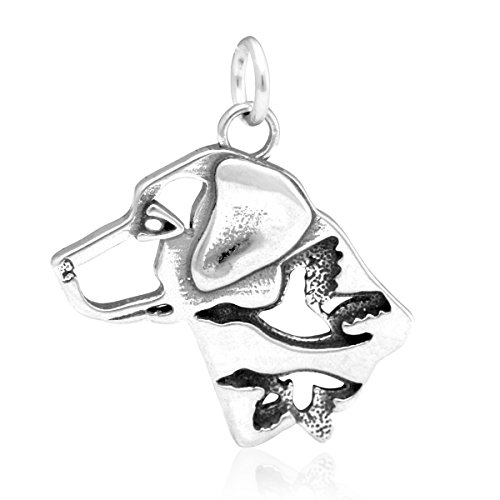 Sterling Silver Labrador Retriever Pendant, Head with Ducks