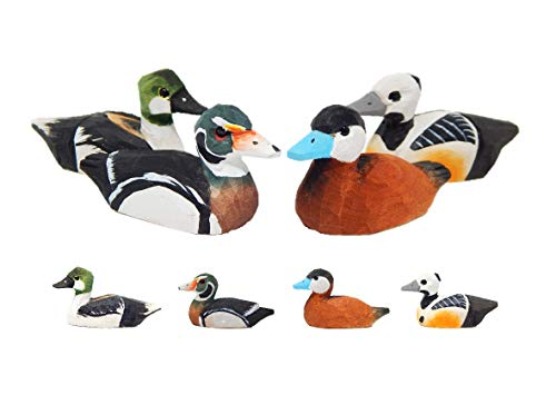 (Small Wooden Duck Figurines - Hand-Made, Miniature Decoy, Carved Animals, Bird Decoration )