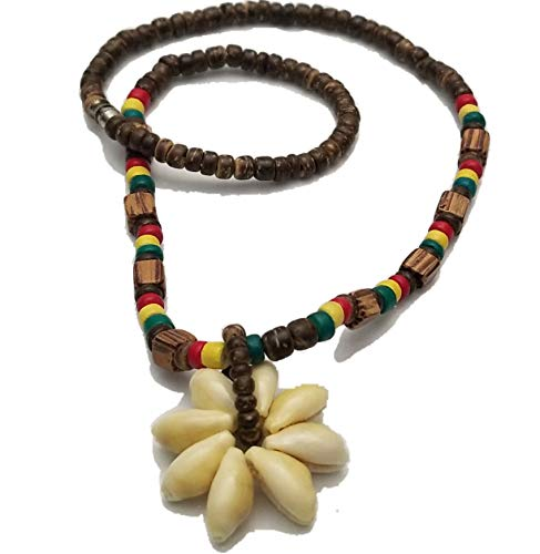 BUNFIREs Rasta Cowrie Shell Flower Pendant Wood Bead Necklace Choker Rasta Colored Coconut Brown Wooden Beads