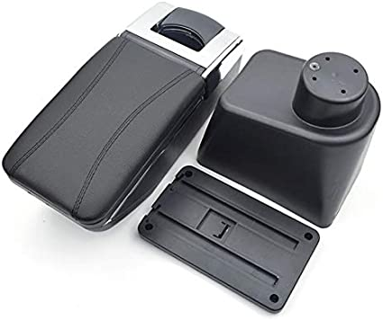 Para Renault Duster 2010-2018 Apoyabrazos Caja de almacenamiento Coches Reposabrazos Central Negro con l/ínea roja