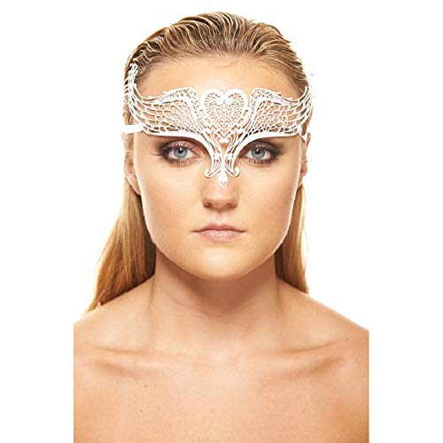 (Phoenix White Masquerade Mask with Clear Rhinestones (Unisex; One Size Fits)