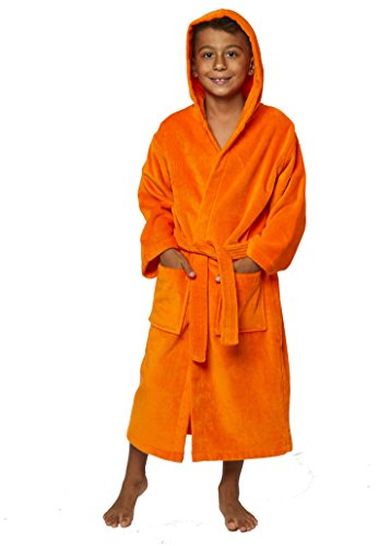 TurkishTowels Parador Boys Terry Velour Hooded Kids Bathrobe (Ages 7-11, Orange) ()
