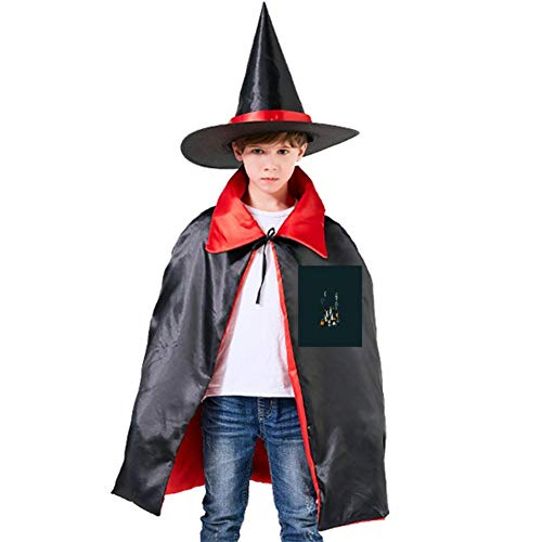 Pumpkin Festival Night Halloween Shawl and Witch Hat for Children Kids Red ()