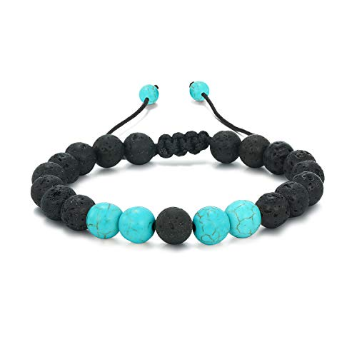 Women Mens Lava Rock Stone Beads Bracelet Aromatherapy Anxiety Essential Oil Diffuser Jewelry Blue E034B