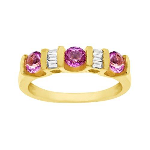 - 1 ct Natural Pink Sapphire & 1/8 ct Diamond Ring 14K Gold