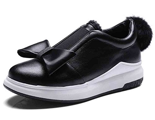 Easemax Women's Sweet Bowknot Round Toe Low Cut Slip On Mid Wedged Heel Loafers Shoes Black 4 B(M) US by Easemax