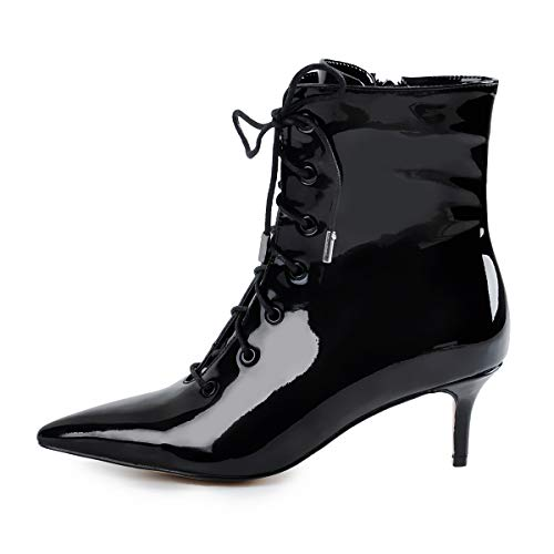 Boot Heel Ankle Black Patent - Onlymaker Women's Kitten Low Heel Ankle Bootie Pointed Toe Lace Up Comfortable Walking Boots Black 12 M US