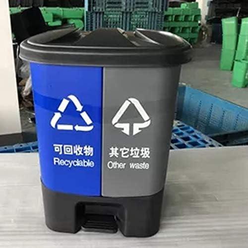 Ffjjdls ゴミ箱の分類ペダルゴミ箱屋内と屋外のダブルバレル足衛生ゴミ箱環境保護することができます (Color : Green+gray, Size : 40L)