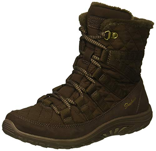 Skechers Women's Reggae Fest-Moro Rock-Short Quilted Lace Up Bootie Ankle Boot, Chocolate, 9.5 M US