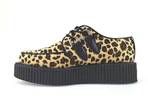 T.U.K. sneakers donna beige nero tessuto AJ522
