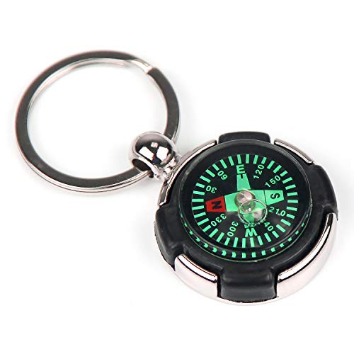 - Compass Keychain Tyre Shaped Decoration Mini Keychain Pocket Watch Style Compass Compass Keychain Metal Silver Wheel Ryder Compass Key Rings Holder Keychain Survival Compass Pendant Bracelet Key Ring