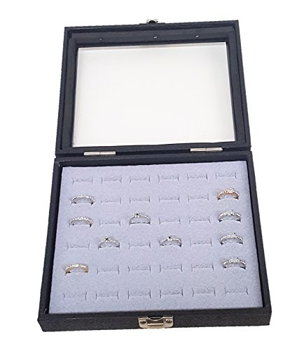 Glass Top Black Jewelry Display Case With 36 Slot Silver Grey Ring Display Insert