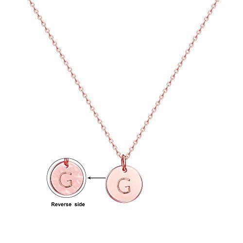 (Befettly Initial Necklace,14K Rose Gold-Plated Children Necklace Round Disc Double Side Engraved Hammered Name Necklace 16.5'' Adjustable Personalized Alphabet Letter Women Pendant G)