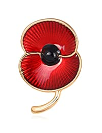 L'vow Poppy Brooch Red Diamante Crystals Flower Pin Badge Broach