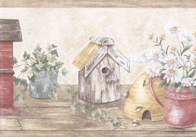 Wooden Cream Red Bird Houses Wallpaper - House Border