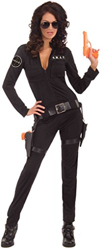 Swat Costume Female (Forum Novelties Women's Swat Sexy Woman Of Action Costume, Black, Medium/Large)