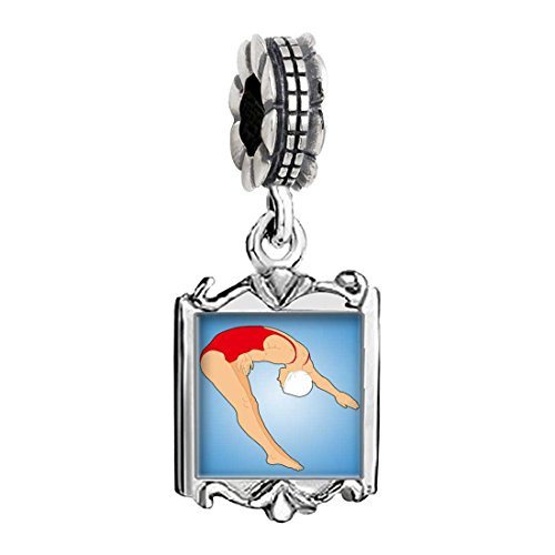 Olympics female player dive off the springboard Family Mom & Baby Girl & Dad Dangle Bead Charm Bracelet