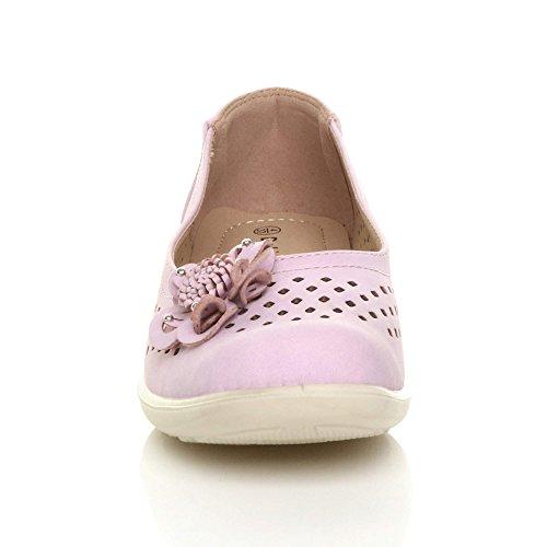 Womens Ladies Flat Grip Sole Padded Comfort Shoes Flower Summer Ballerinas Size Purple ijbj13