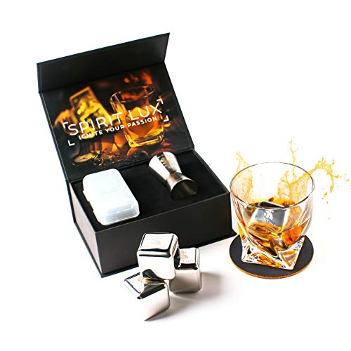King-Sized Stainless Steel Ice Cubes Whiskey Stones Gift Set of 2, Reusable Metal Ice Cubes for Whiskey, Bourbon,Scotch, Whiskey Rocks Chilling Stones 1.5''+ Cork Coasters absorbent by Spirit Lux by Spirit Lux (Image #1)