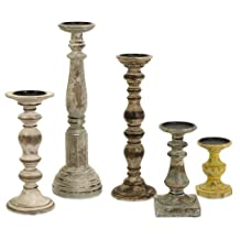 IMAX Kanan Wood Candleholders In Distressed Finishes , Set of 5, Natural