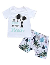 SUPEYA Baby Boy Short Sleeve Letter Print Shirt+Tree Print Shorts Summer Beach Outfit