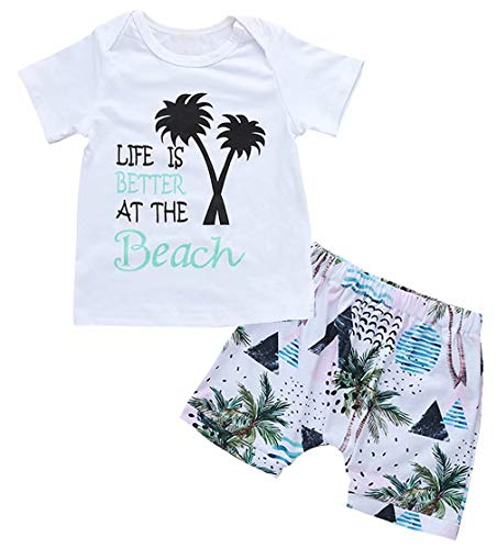 Toddler Baby Boys Life is Better at The Beach Coconut Tree Print T-Shirt Tops Shorts Pants Vacation Summer Clothes Sets Size 6-12 Months/Tag80 (White)
