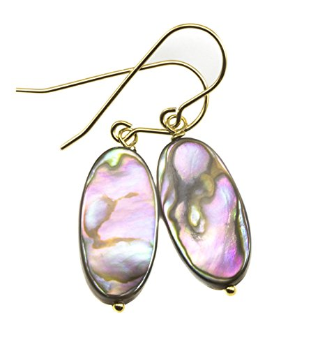 14k Yellow Gold Abalone Shell Earrings Mother of Pearl MOP Narrow Oval Shaped Colorful Drops 14k Yellow Gold Mop