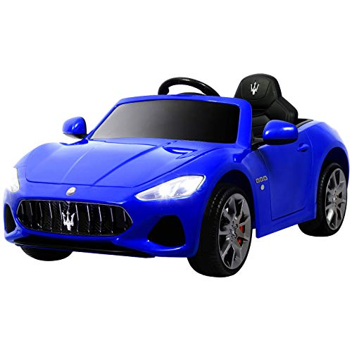 Uenjoy Maserati GranCabrio 12V Electric Kids Ride On Cars Motorized Vehicles with RC Remote Control, Wheels Suspension, MP3 Player, Lights, Blue ()