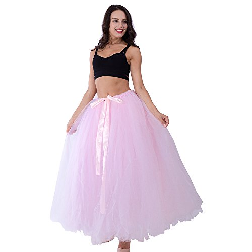 Handmade Maternity Photography 100 cm Long Puffy Tutu Tulle Skirt for Women Floor Length Wedding Costume Party Skirts for Photo Shoot Pink]()