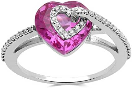 Jewelili Sterling Silver Created Pink Sapphire with Diamond Accent Heart Ring, Size 7