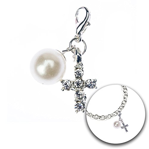 Fashion and Jewelry Accessory of Trendy Charm Clip On Pendant for Armbands Bracelets Bangles With Cross Decorations, Pearl and Rhinestones Crystals Gems