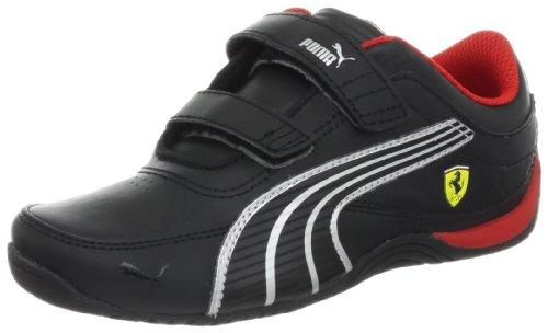 PUMA Drift Cat 4 Ferrari Leather V Kids Sneaker (Infant/Toddler/Little Kid/Big Kid),Black/Black/Silver Metallic,2.5 M US Little Kid ()