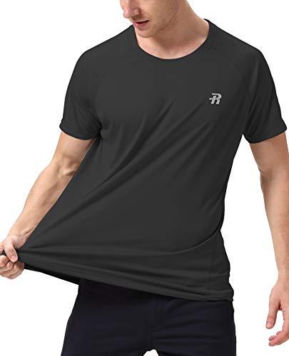Runhit Short T-Shirts for Men,Outdoor UPF 50+ Sun UV Protection Dri-fit Workout-and-Training-Shirts,Rash Guard Hiking Running Fishing Shirts for -