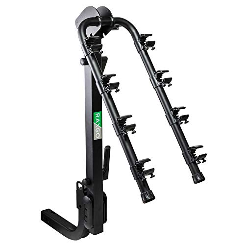 RaxGo Premium Hitch Mounted 4 - Bike Rack Carrier, Sturdy Bicycle Swing Away Rack - Fits 2