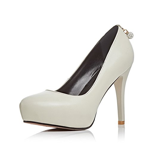AmoonyFashion Womens Mixed Material Solid Pull-On Round Closed Toe High-Heels Pumps-Shoes White BOVc1uJ