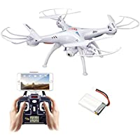 Syma Quadcopter Drone, X5SW Remote Control Helicopter Drone with HD Wifi Camera for Real Time Video Transmission White