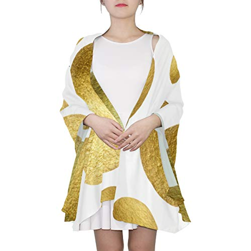 Elegant And Funny Golden Polka Dots Unique Fashion Scarf For Women Lightweight Fashion Fall Winter Print Scarves Shawl Wraps Gifts For Early Spring