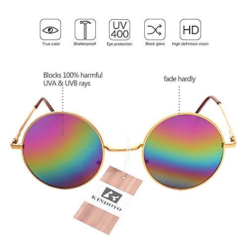 Punk soleil miroir qualité hommes rétro UV400 KINDOYO Lunettes rond Multicolore Steampunk Goggles de Cyber Femmes pour Or x18fSw