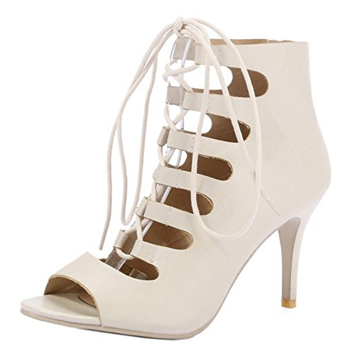 RAZAMAZA Mujer Peep Toe Tacon Alto Sandalias Ankle-wrap Gladiator Tacon De Aguja Zapatos Beige