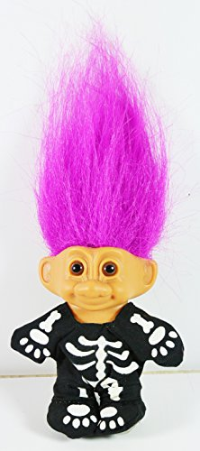 Troll Doll Halloween in Skeleton Costume Pink Hair 3 1/2
