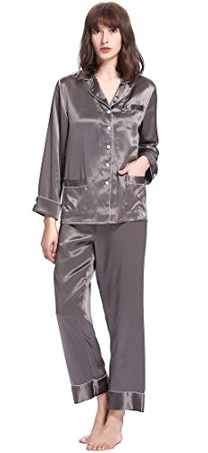 LILYSILK(TM) Women's Long Silk Pajamas Set V Neck Notched Collar with White Trimmed Dark Gray Size XS