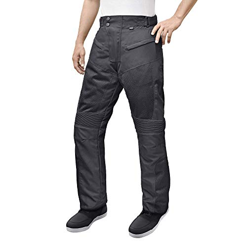 (Motorcycle Sport Mesh Riding Pants Black with Removable CE Armor PT3 (L-Short))