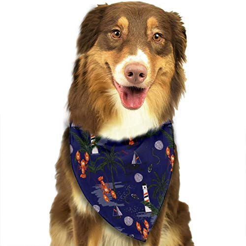 OURFASHION Lobster Sailboat Lighthouse Bandana Triangle Bibs Scarfs Accessories for Pet Cats and Puppies.Size is About 27.6x11.8 Inches (70x30cm). ()