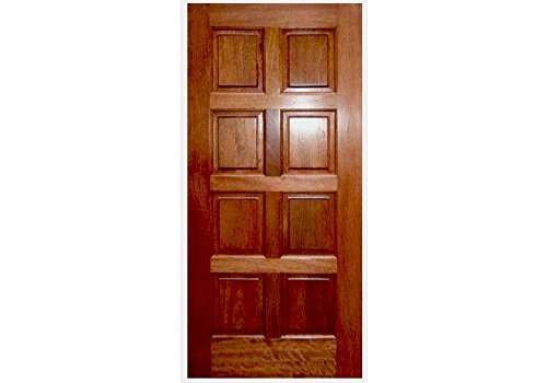 ETO Doors EXMA800 - Slab Mahogany Wood 8 Square Panel Entry Door, Barn Style Sliding Door, Available Pre Hung, Door Only, Unfinished, Size: 36