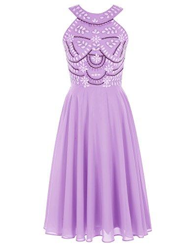 Perline Viola Ritorno Vestito Da A Promenade Alagirls Casa Abito Girocollo Breve oQdeBCrxW