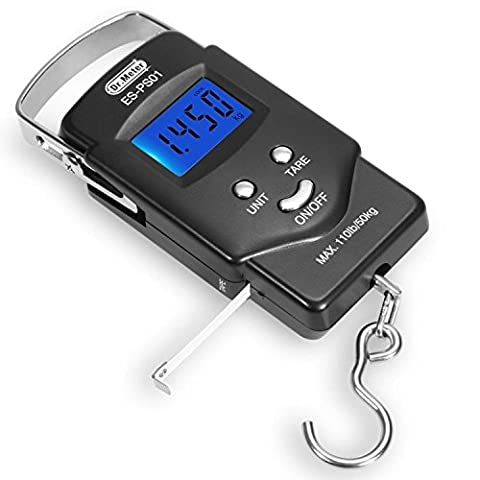 [Backlit LCD Display]Dr.meter PS01 110lb/50kg Electronic Balance Digital Fishing Postal Hanging Hook Scale with Measuring Tape, 2 AAA Batteries - Stainless Steel Fish Tape