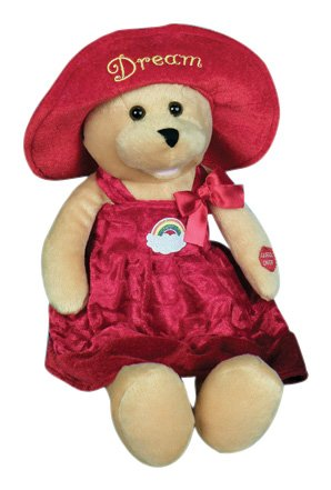 "Chantilly Lane 17 Inch Stuffed Animal Animated Musical Singing Teddy Bear Connie Talbot Dream Bear Sings ""Over The Rainbow"", 1 Pack, Red/Beige"