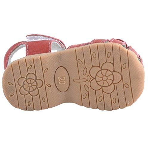 LOSORN ZPY Mädchen Baby Kinderschuhe Sommer Sandalen mit Blumen Prinyessin Leder Schuhe Rot