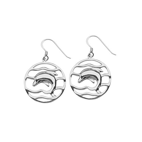 ium Plated Round Dolphin French Wire Earrings (Dolphin French Wire Earrings)