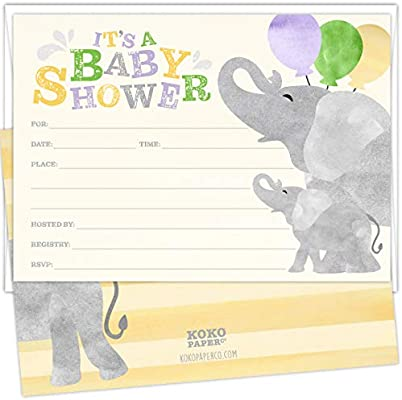 Koko Paper Co Joyful Elephant Baby Shower Invitations Set